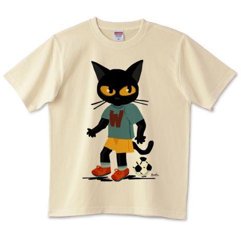 SOLD! ご注文ありがとうございます!❤️サッカーをする猫   デザインTシャツ通販 #ttrinity #cat #猫 #cats #feline #サッカー #tshirts #clothing #Tシャツ  by BATKEI カラー : バナナ
