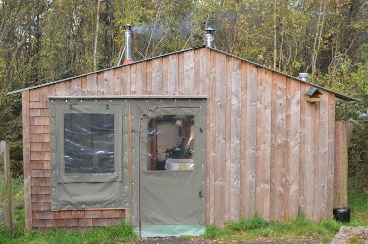 wood house, tent door