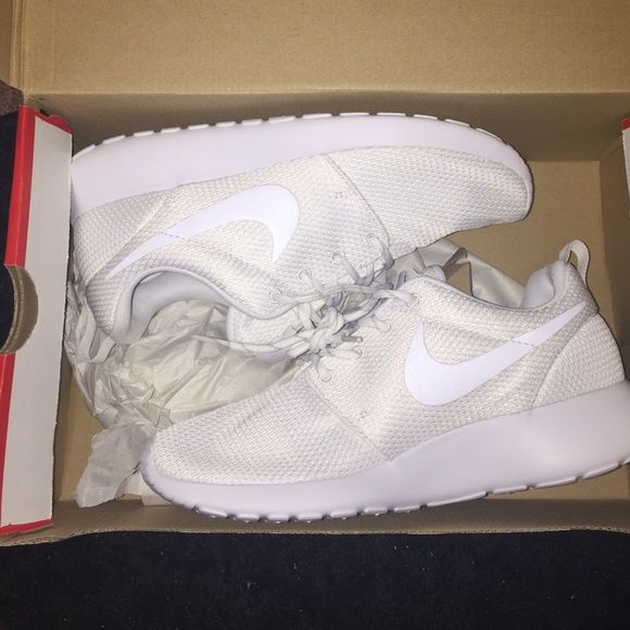 Brand new all white roshe runs Brand new never worn Nike Shoes Sneakers