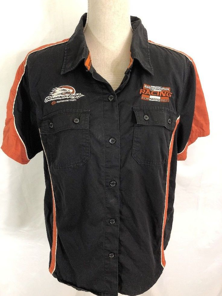 Harley Davidson Garage Shop Racing Motorcycles Eagle Shirt Top Womens XL #HarleyDavidson #ButtonDownShirt #Casual