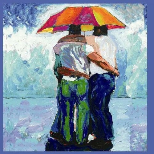 RainBears by Rd Riccoboni. Part of a series. Acrylic paint on canvas. #followme #acrylic #painting #artist #beards #bears /#feelgood #gayboyswithbeards #gaybear #lgbtart #lgbt #rainbow #friendship #friendship #followmyart #bros #decor #design...