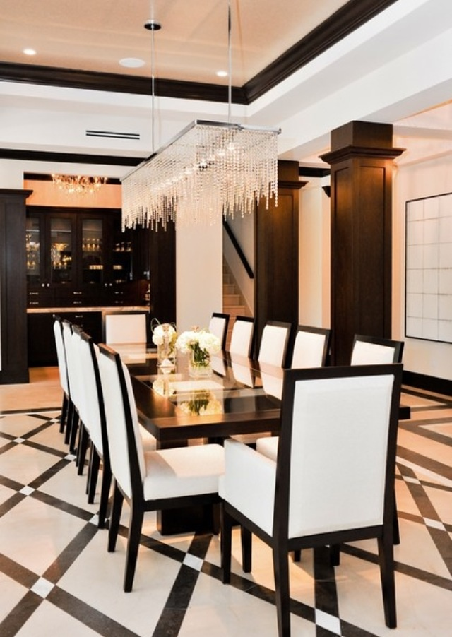 Chandelier Diamond Pattern Floor Black And White Dining Room