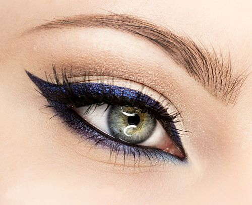 Winged Eye Liner with a twist - metallic purple eyes.