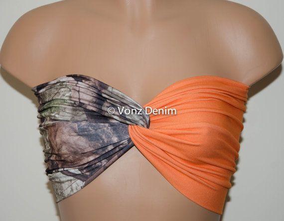Camo and Denim Blaze Orange Bandeau Top Swimwear Bikini by Voneenz