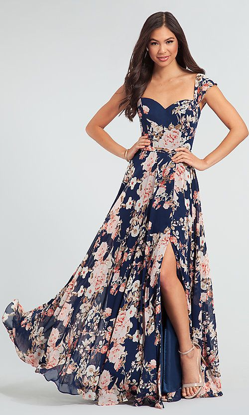 4031b4e0a3 Floral-Print Long Kleinfeld Bridesmaid Dress in 2019