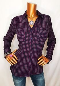 Express The Portofino M Geometric Sheer Top Logo Button Down Shirt Navy Blouse  | eBay