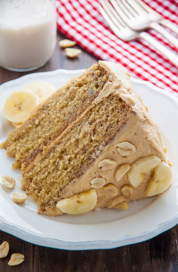 My favorite Banana Cake with Peanut Butter Frosting! A pop of honey and sea salt make it extra delicious.