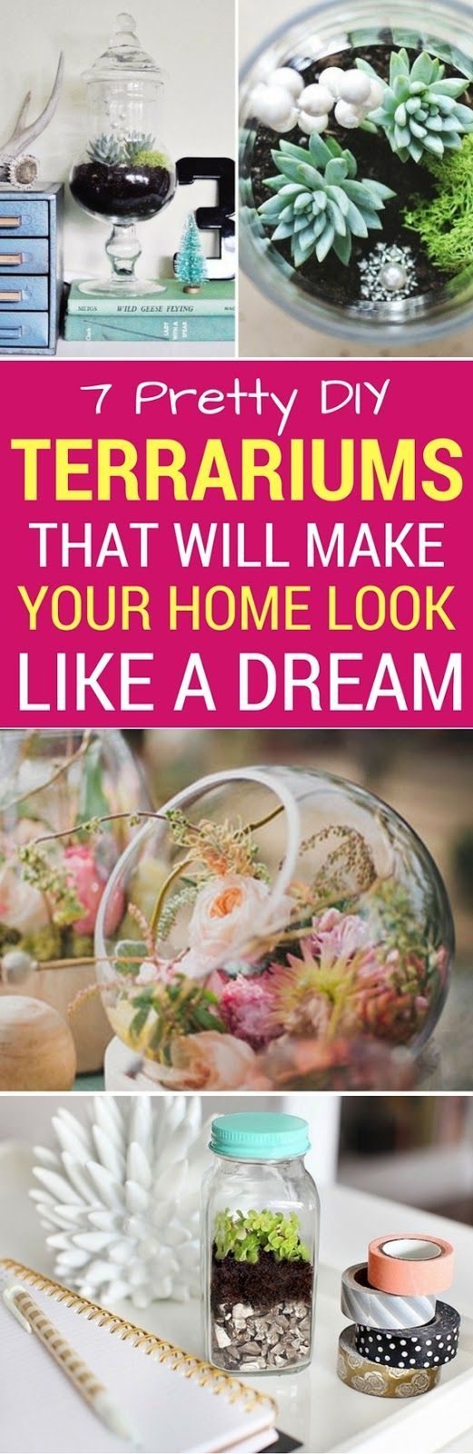 7 Most Pretty DIY Terrariums To Make Your Home Look Like A Dream - Learn how to make these easy yet gorgeous diy terrariums for your home decor. Also includes a diy project like how to make an eternal terrarium. SO COOL!