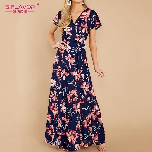 Short sleeve side split long dress summer vneck beach dresses bohemian women printing party vestidos de