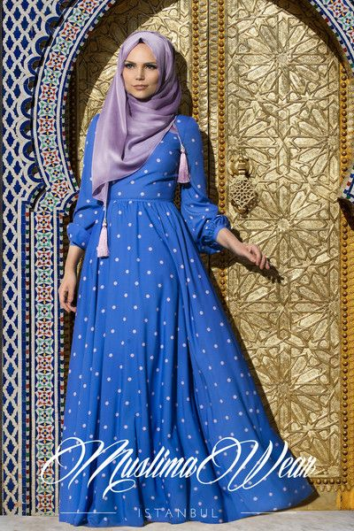 Muslima Wear - Dotted Dress Lila Indigo Blue Lila dotted dress Hidden back zipper High collar with two buttons in the back Wide cut, fully lined skirt Fabric: crepe