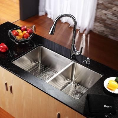 KRAUS All-in-One Undermount Stainless Steel 19 in. Double Bowl Kitchen Sink-KHU103-33 - The Home Depot
