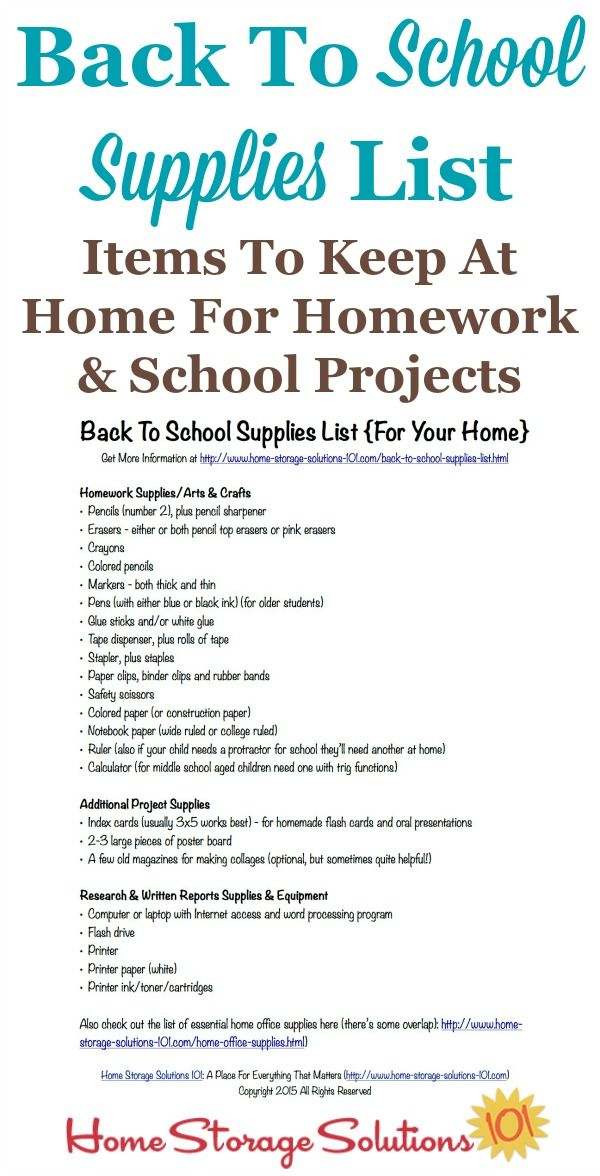 Free Printable Back To School Supplies List What Stock At Home