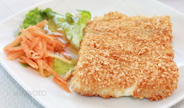 Fried Greek Feta Cheese With Sesame
