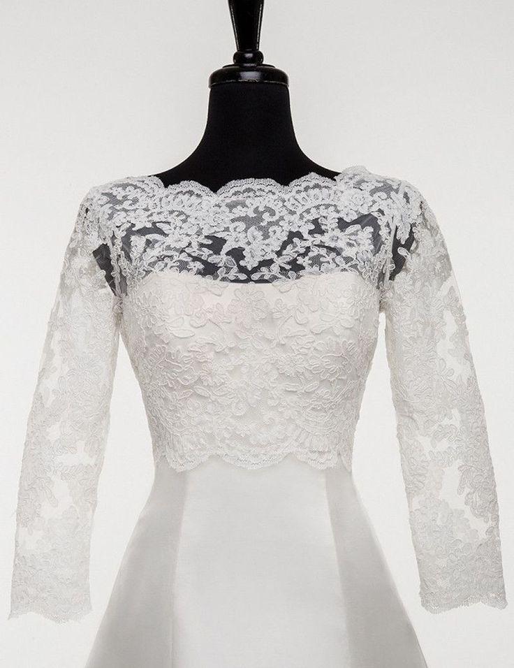2016 New Arrival Long 3/4 Sleeve Lace Bridal Bolero Jacket Elegant Cheap Tulle Wedding Jackets With Lace Appliques