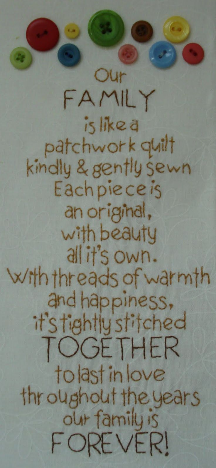 Our Family is like a patchwork quilt - From Lori Holt's Family Renunion quilt.