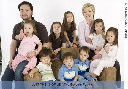 Kate Gosselin  has only been pregnant twice, but delivered eight children. Twin girls were born in 2000, followed by sextuplets in 2004. The Gosselin family has a reality show on The Learning Channel (TLC) called John and Kate Plus 8.