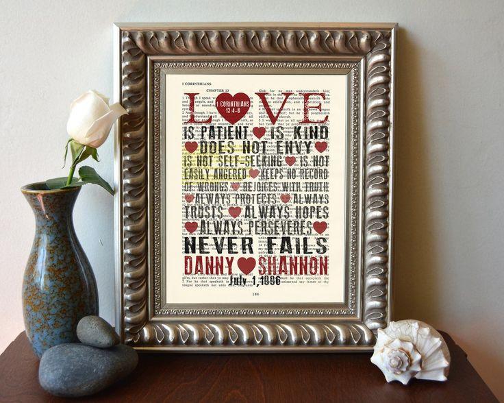 Love is Patient- 1 Corinthians 13:4-8 Personalized Vintage Bible Verse ART PRINT