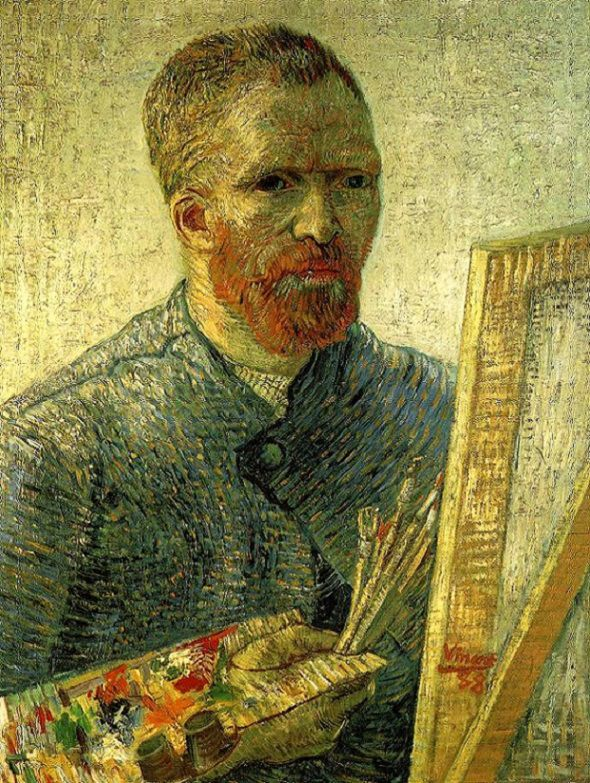 Vincent van Gogh (Dutch, 1853-1890) – Self-Portrait as a Painter, 1887-88 (Oil on canvas. Van Gogh Museum, Amsterdam) – Van Gogh depicts himself as an artist, with all the necessary equipment: palette, brushes, and a canvas on a wooden easel. Contrasting colors, such as the blue of the smock and the orange-red of the beard, are set right next to each other in order to strengthen their effect… (Németh György)