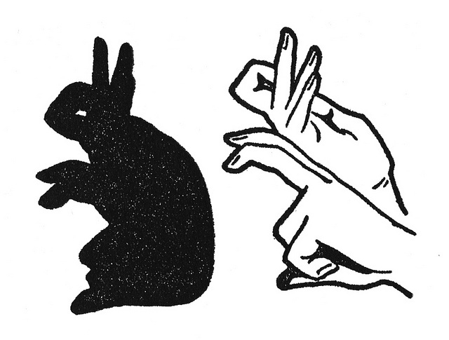 How to make a bunny hand shadow.