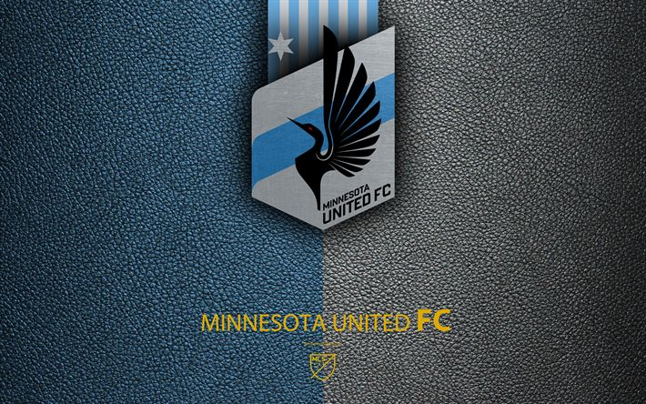 Download wallpapers Minnesota United FC, 4K, American soccer club, MLS, leather texture, logo, emblem, Major League Soccer, St Paul, Minnesota, USA, football, MLS logo
