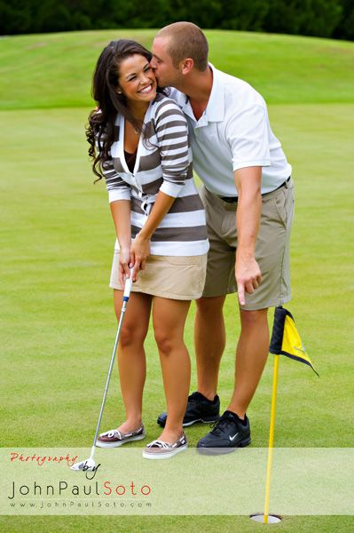 An engagement picture idea for Lady Bird Golf Course in Fredericksburg, Texas