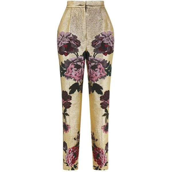 Dolce & Gabbana Metallic Floral Trousers ($1,485) ❤ liked on Polyvore featuring pants, dolce gabbana trousers, flower print pants, metallic pants, brown trousers and floral printed pants #womentrousers