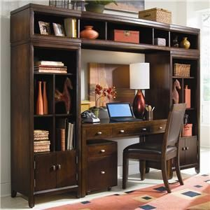 Desk Wall Unit Combinations Tribecca Desk And Bookcase Wall Unit By American Drew Riverview