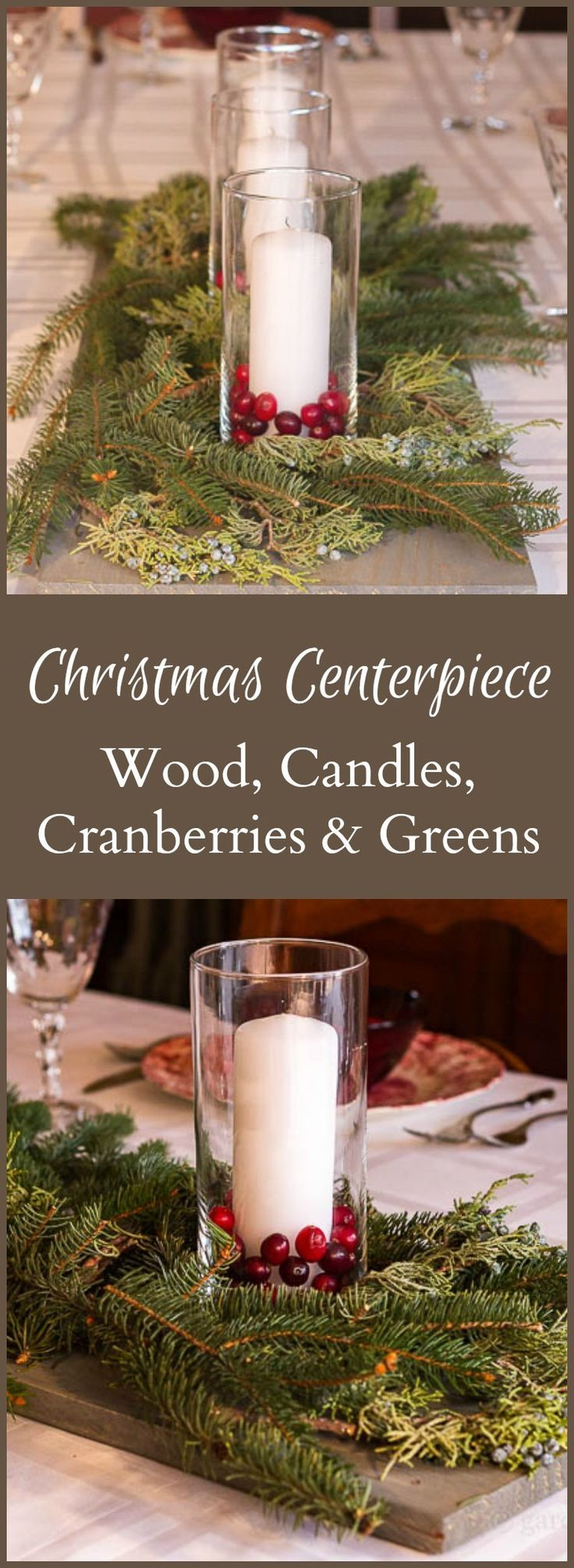 How to make christmas centerpieces with ice - This Simple Wood Candle Cranberry Evergreen Centerpiece Is So Easy To Make And
