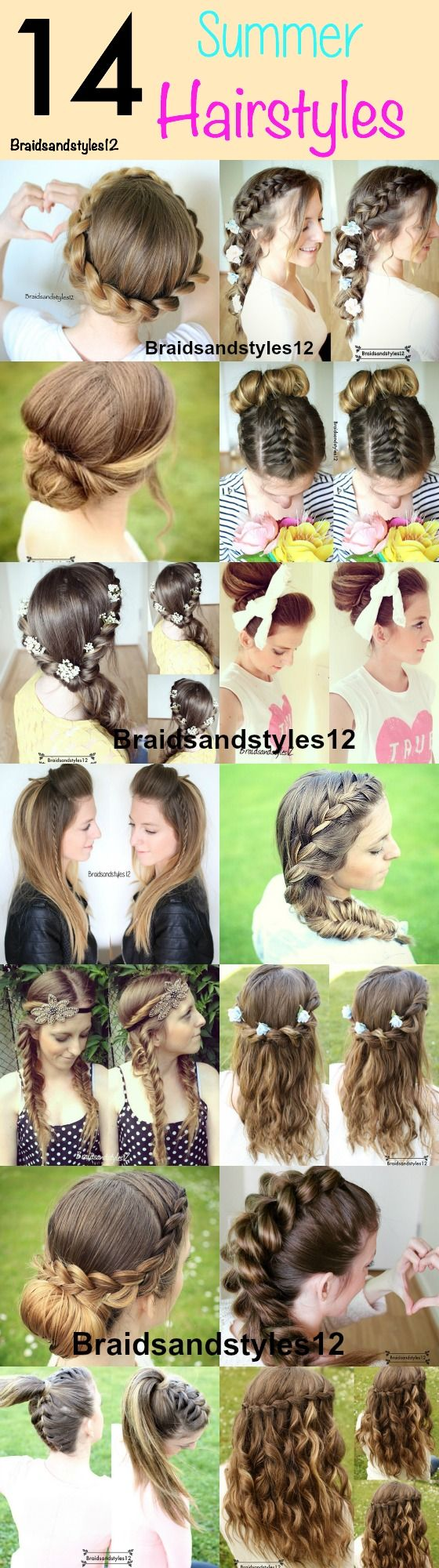 14 Braids and Hairstyles perfect for  Summer , Summer Braids . Summer Hairstyles by Braidsandstyles12  Youtube : https://www.youtube.com/channel/UC8ouEGIBm1GNFabA_eoFbOQ