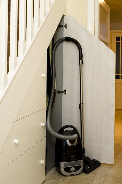 Vacuum closet under the stairs. LOVE IT! Vacuum cleaner storage. Vacuum cleaner. The BEST vacuum cleaners.