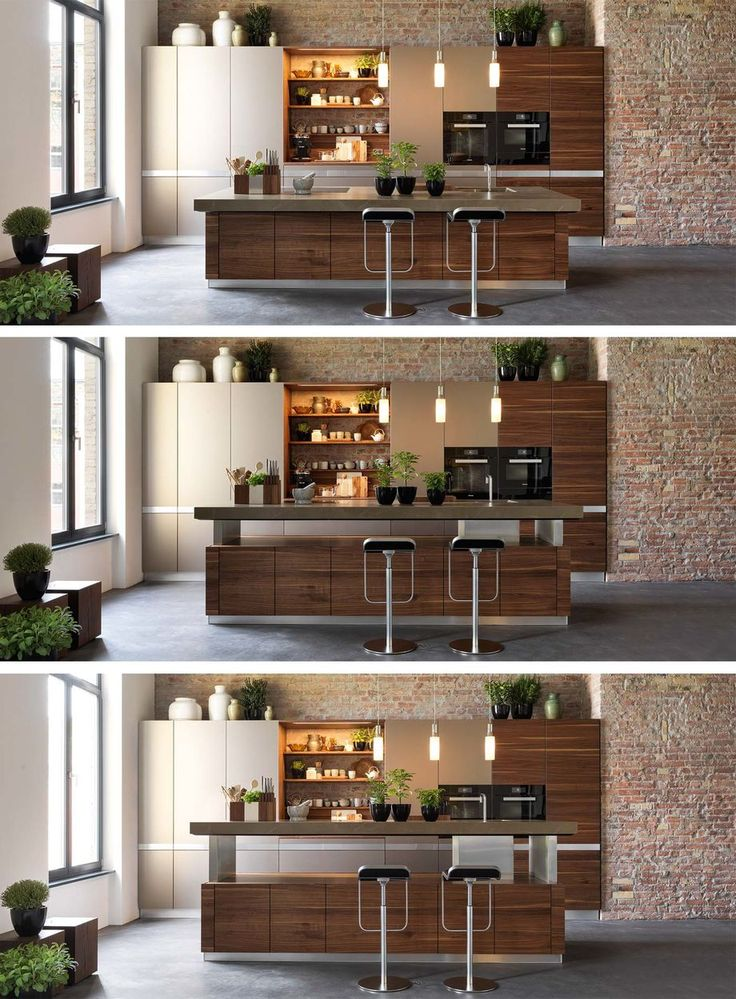 k7 kitchen island with height-adjustable worktop by Team 7