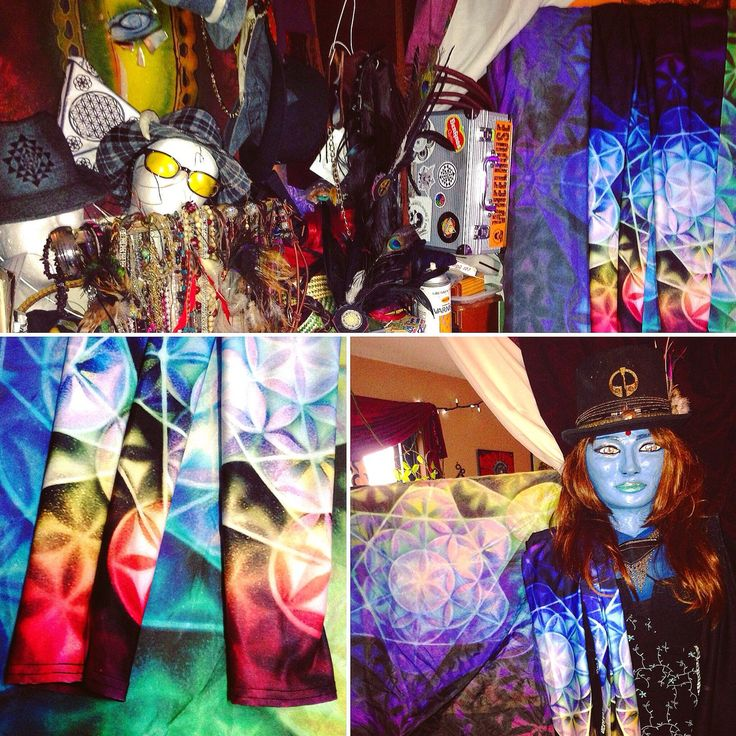 Rainbow spectrum flower of life leggings and silk scarf hanging out in my studio with Amytal Valkyrie modelling a custom top hat 😉💋