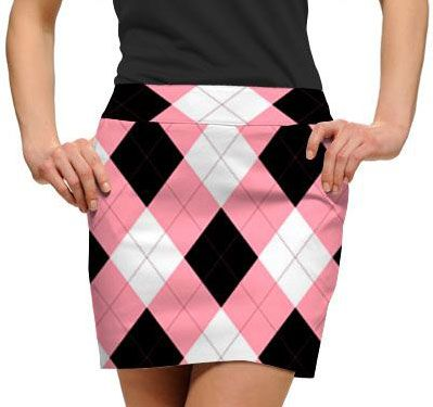 Loudmouth Golf Ladies Skorts – Pink & Black Argyle