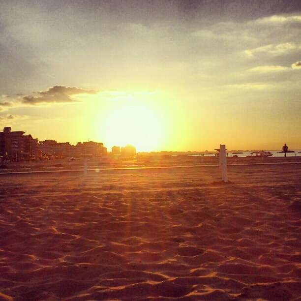 Sunset at Cattolica beach, Italy