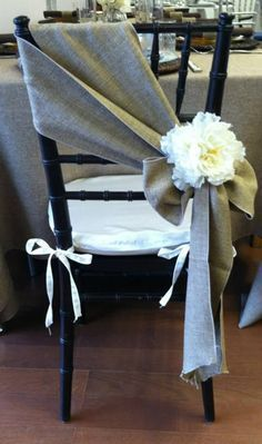 gray burlap wedding chair detail ideas for country weddings 2017 # detail #gra