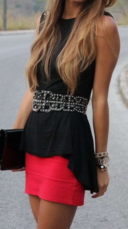 .: Black Top, Dream Closet, Dress, Bright Skirt, Outfit, Refined Style, Red Skirts