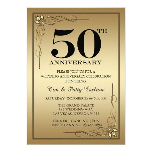 Carlton Cards Wedding Invitations: Gold 50th Wedding Anniversary Party Invitation