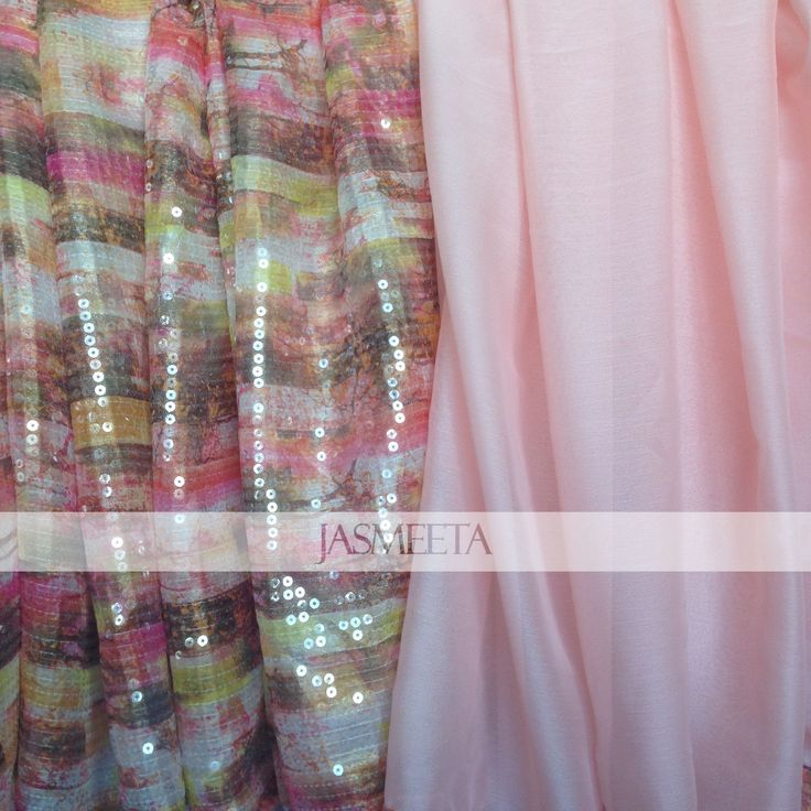 Stunning and very elegant sequinned fabric and light pink chiffon