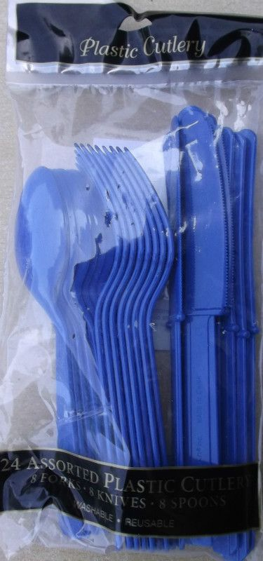 £3.99 including delivery 24 Piece Plastic Cutlery Set Marine Blue Great For Parties and Occasions