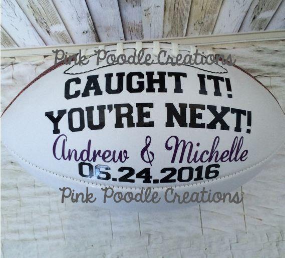 Garter Toss Football Wedding Football by PinkPoodleCreations