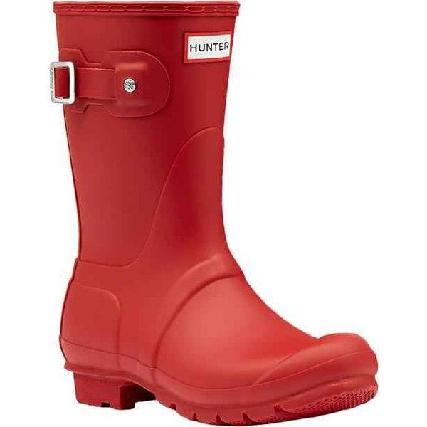 Hunter Women's Original Short Rain Boot Military Red Rain Boots ($140) ❤ liked on Polyvore featuring shoes, boots, red, red rubber boots, short rubber boots, waterproof military boots, knee high rubber boots and tall boots