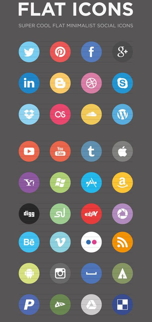 Collection Of Free Flat Social Media Icon Sets