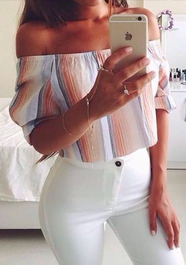 Off the shoulder crop top and jeans