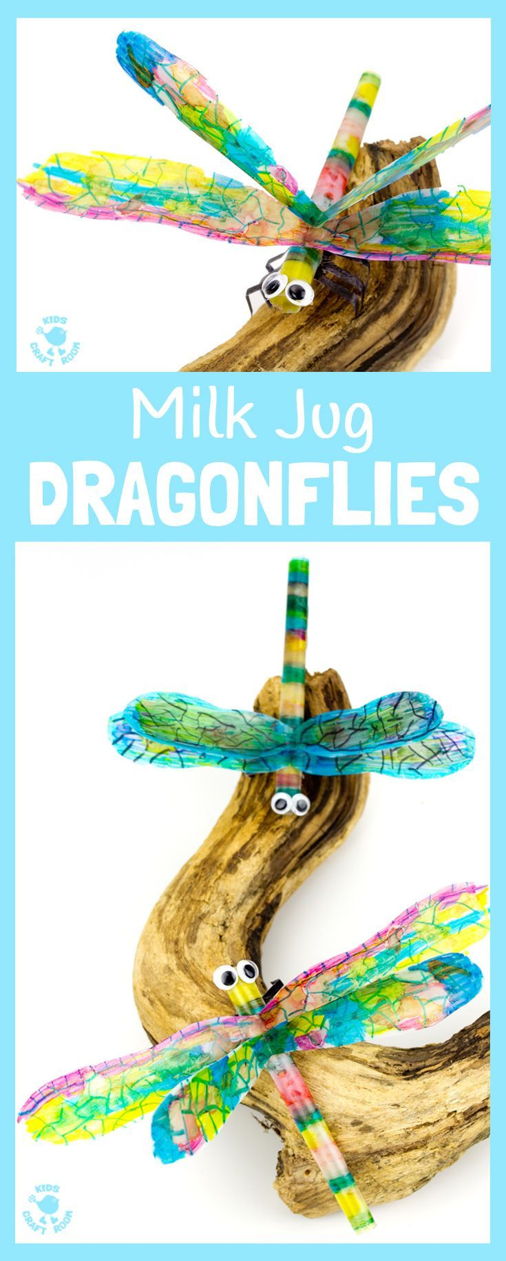 RECYCLED MILK JUG DRAGONFLY CRAFT uses sharpie and alcohol colouring to give a stunning tie dye effect. A pretty insect craft for Spring, Summer & Earth Day.