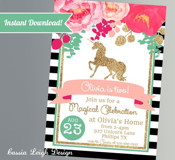 Unicorn Birthday Invitations - Pink Black and White with Glitter- Unicorn Party Invitations- Printable Digital Download