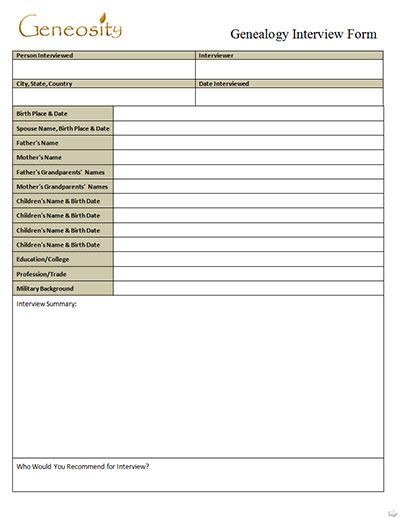 genealogy interview form record free microsoft word download