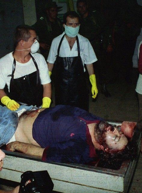 Pablo Escobar, druglord, kingpin of Columbia  http://images.latinospost.com/data/images/full/1707/drug-lord-pablo-escobar-lies-dead-at-the-morgue-december-2-escobar-was-killed-in-a-gun-b...