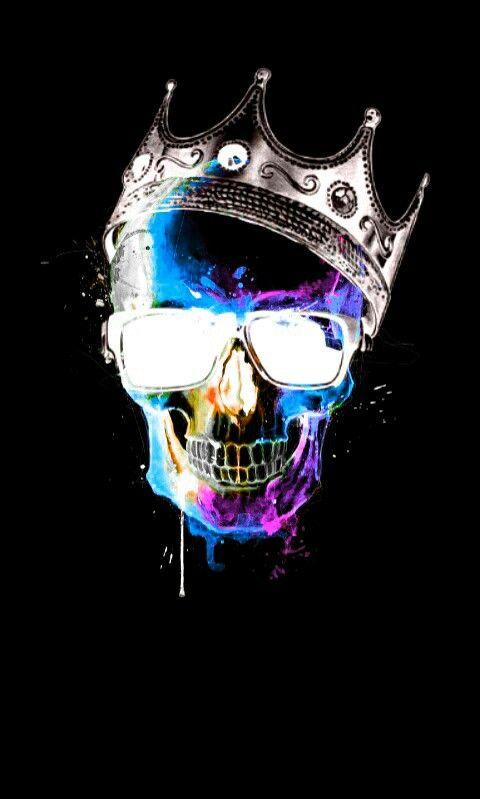 Sugar Skull Iphone Wallpaper Crowned King Skull Skull Artwork Skull Wallpaper Sugar