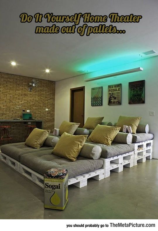 Home Theater Made Out Of Pallets