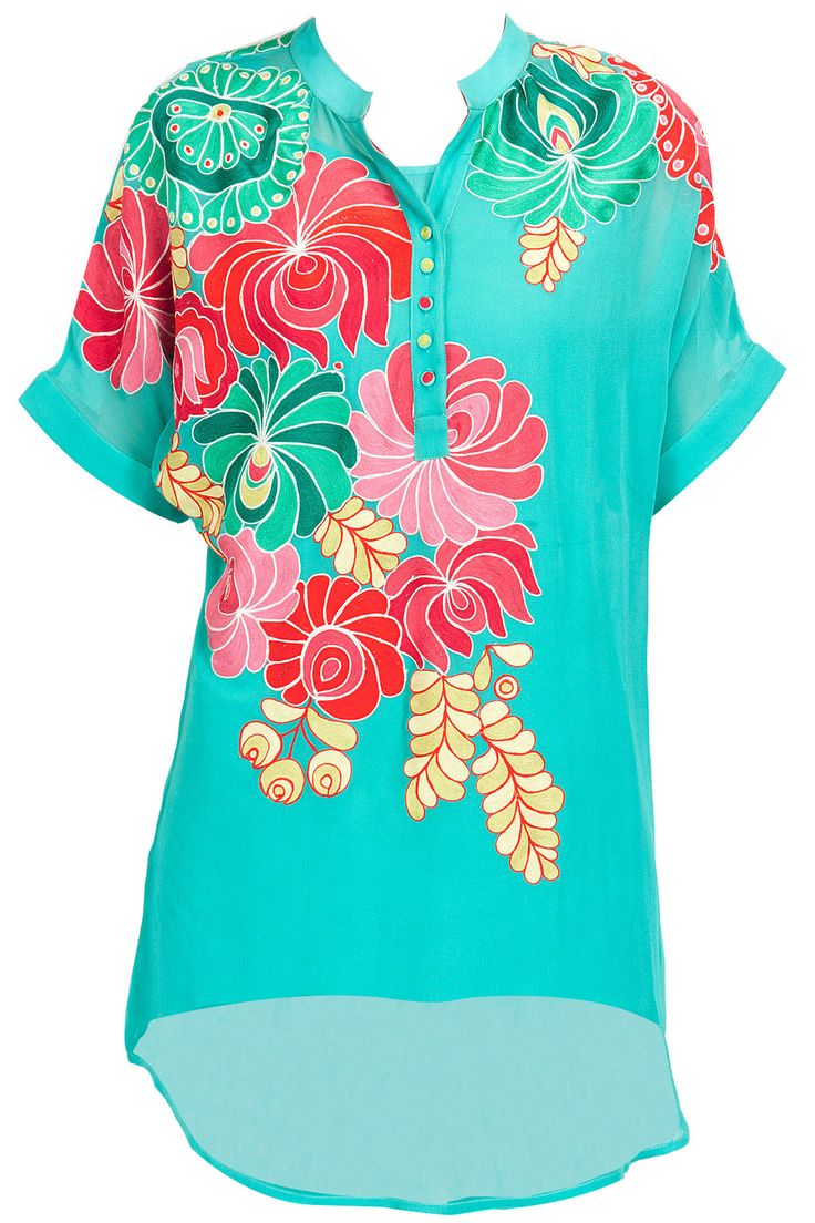 Aqua floral embroidered tunic available only at Pernia's Pop-Up Shop.